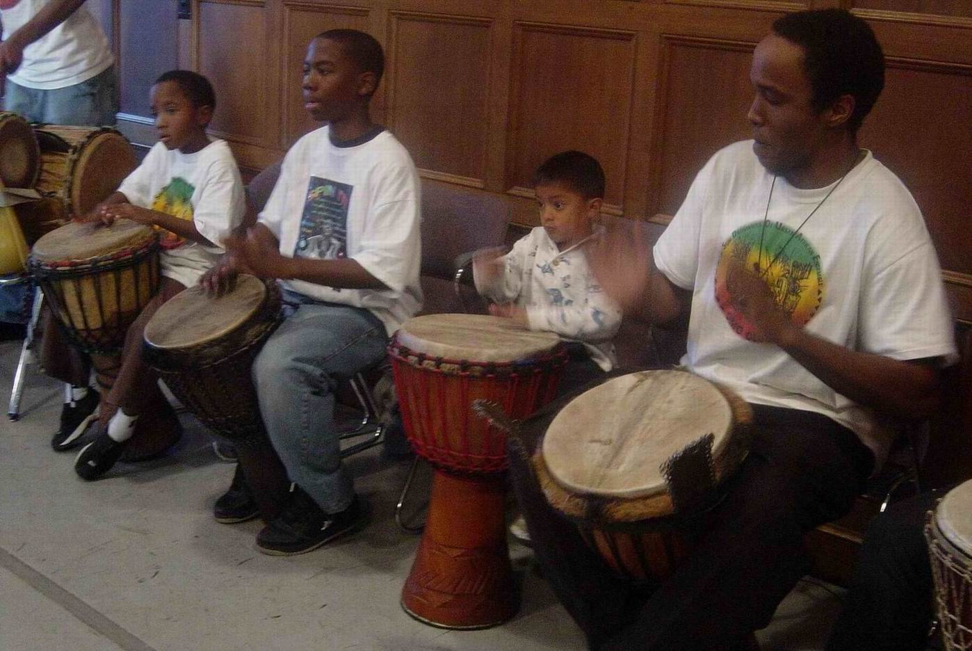 Drumming for Achebe Hoskins' Story Time